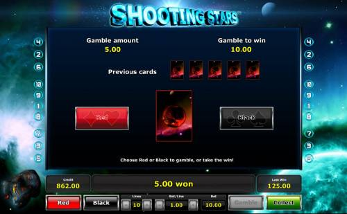 Shooting Stars Review Slots Gamble feature game board is available after every winning spin. For a chance to increase your winnings, select the correct color of the next card or take win.