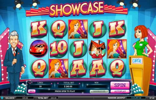 Showcase Review Slots Main game board featuring five reels and 20 paylines with a $60,000 max payout