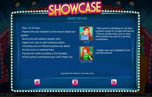 Showcase Review Slots Basic Game Rules. Wild and Scatter symbols
