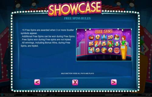 Showcase Review Slots Free Spins Rules - 15 free spins are awarded when 3 or more scatter symbols appear.