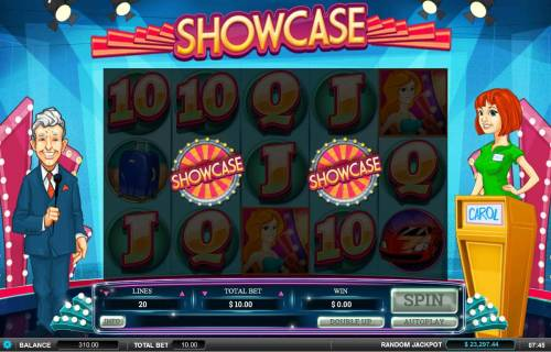 Showcase Review Slots Bonus feature triggered when 2 or more bonus wheel symbols appear on reels 2 and 4.