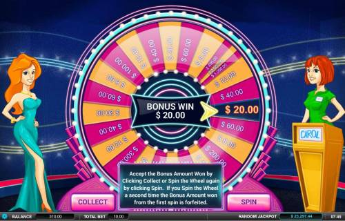 Showcase Review Slots You can either take the bonus sheel win or try another spin of the wheel for a chance at a larger prize. Keep in mide that you run the risk of landing on a lower value prize.