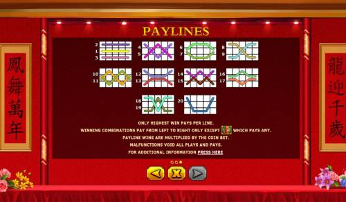 Shuang Xi Review Slots Paylines 1-20