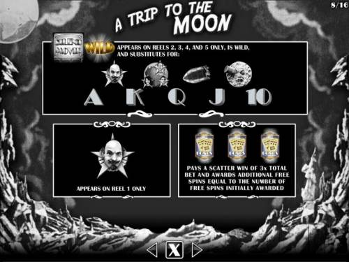 Silent Movie Review Slots A Trip to the Moon Bonus - Wild and Scatters symbols