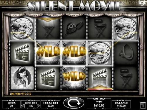 Silent Movie Review Slots Multiple winning paylines triggers a big win!
