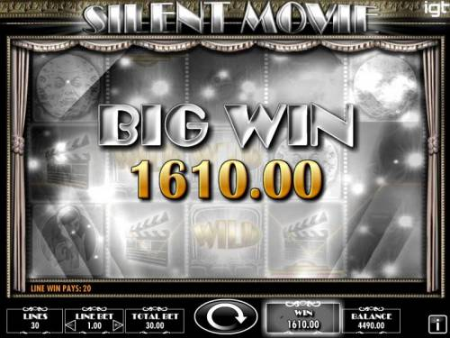 Silent Movie Review Slots A 1610.00 Big Win triggered by multiple winning paylines.