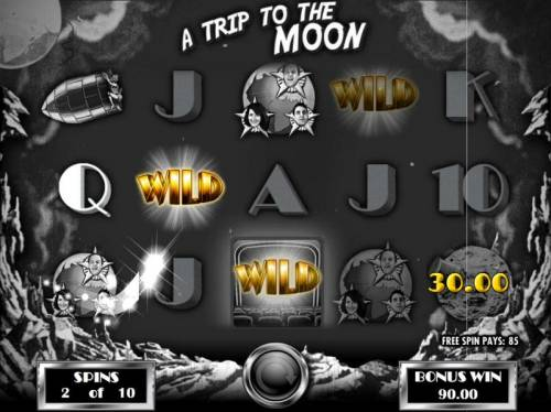 Silent Movie Review Slots A Trip to the Moon Bonus game board