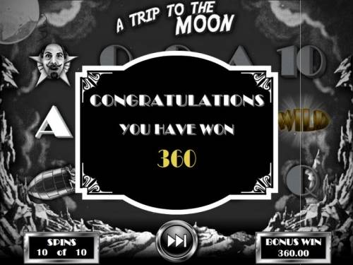 Silent Movie Review Slots A Trip to the Moon Bonus pays out a total of 360.00 for a big win.