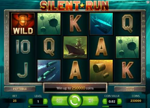 Silent Run Review Slots main game board featuring five reels and 25 paylines