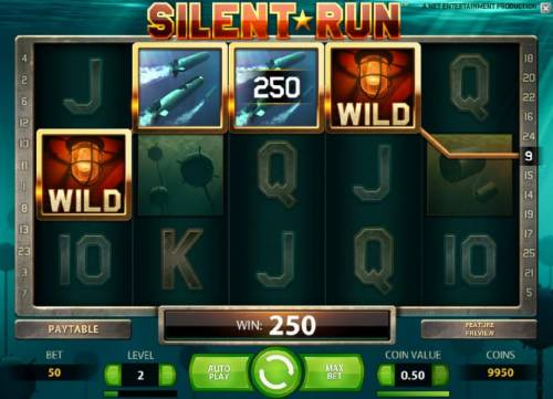 Silent Run Review Slots four of a kind triggers a 250 coin jackpot payout