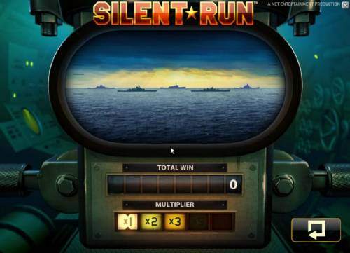 Silent Run Review Slots bonus feature game board - select targets to destroy and collect a prize award