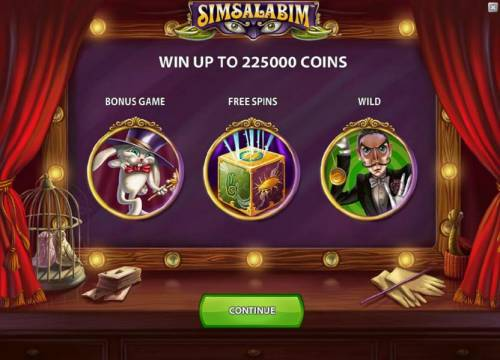 Simsalabim Review Slots you can win to 225000 coins and the game features a bonus game, free spins and wilds