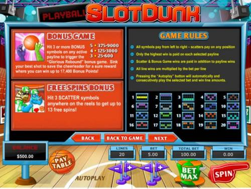 Slot Dunk Review Slots hit 3 or more bonus symbols on any active payline to trigger the Glorious Rebound bonus game and win up to 17,400 bonus points. Hit 3 or more scatter symbols anywhere on the reels to get up to 13 free spins.