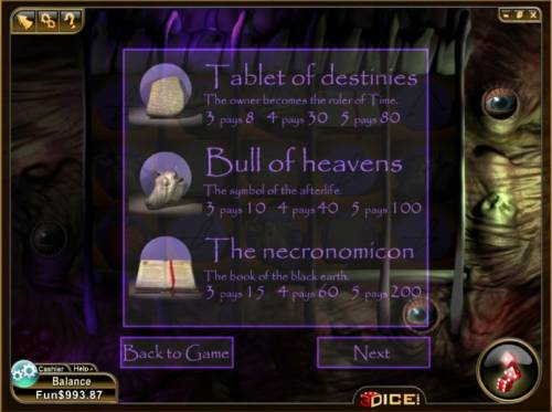 Slotronomicon Review Slots tablet of destinies, bull of heavens and the necronomicon symbols paytable