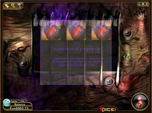 Slotronomicon Review Slots you have invoked the incantation of perpetuum. free spins will be started and can only be stopped by three black hearts
