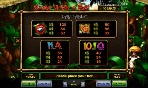 Snake Rattle & Roll Review Slots paytable