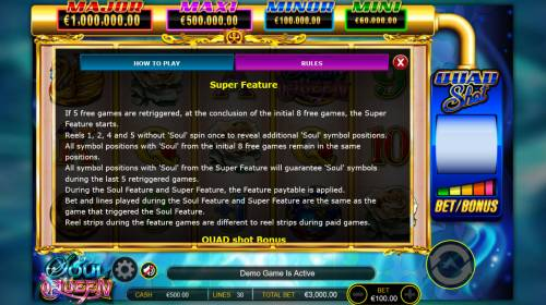 Soul Queen Quad Shot Review Slots Super Feature Rules
