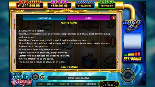 Soul Queen Quad Shot Review Slots General Game Rules