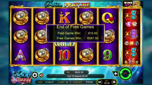 Soul Queen Quad Shot Review Slots Total free games payout 602 credits