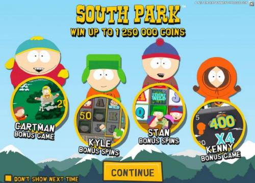 South Park Review Slots game features - win up to 1,250,000 coins, cartman bonus game, kyle bonus spins, stan bonus spins anf kenney bonus game