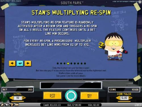 South Park Reel Chaos Review Slots Stans Multiplying Re-Spin Feature Rules