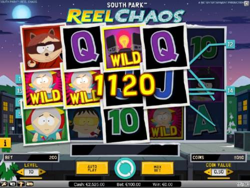 South Park Reel Chaos Review Slots Kyles Overlay Feature triggers multiple winning paylines and an 1120 coin jackpot