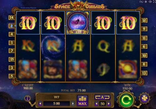 Space Corsairs Review Slots Black Hole mode leads to a winning five of a kind paying a 500.00 award.