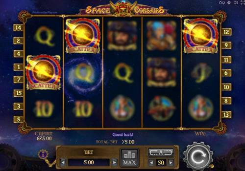 Space Corsairs Review Slots landing three or more scatters anywhere on the reels triggers the free spins feature.