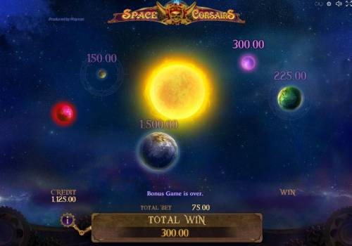 Space Corsairs Review Slots Selected planet reveals a 300.00 prize award.