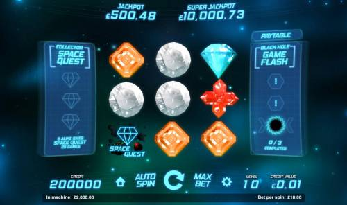 Space Gems Review Slots An outerspace adventure themed main game board featuring nine reels and 1 payline with a progressive jackpot max payout