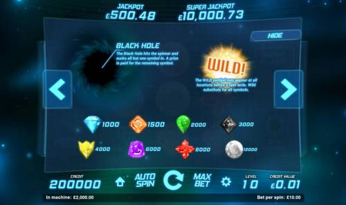 Space Gems Review Slots Slot game symbols paytable featuring outspace adventure themed icons.