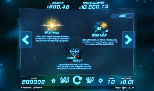 Space Gems Review Slots Bonus game include: The Milky Way, Star Maps, and Space Quest.