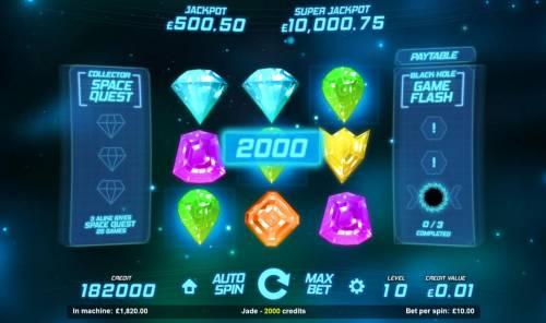 Space Gems Review Slots A three of a kind leads to a 2000 coin pay out.