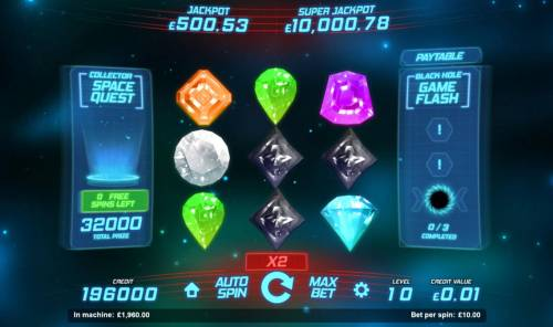 Space Gems Review Slots The Space Quest bonus feature pays out a total of 32,000 coins for a super big win.