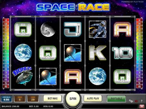 Space Race Review Slots main game board featuring five reels, twenty paylines and a 5000x max payout
