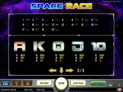 Space Race Review Slots slot game low symbols paytable and payline diagrams