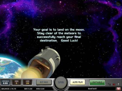 Space Race Review Slots your goal is to land on the moon. stay clear of the meteors to successfully reach your final destination.