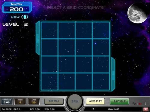 Space Race Review Slots 200 coins awarded for passing level 1. select a grid-coordinate to land your ship