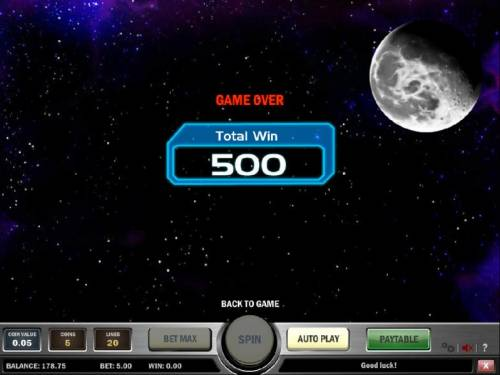 Space Race Review Slots bonus feature pays out a total of 500 coins