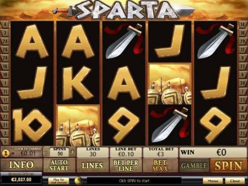 Sparta Review Slots Main game board featuring five reels and 30 paylines with a $20,000 max payout