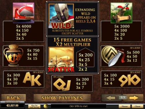 Sparta Review Slots Scatter, Wild, Free Games and slot game symbols paytable