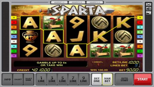 Sparta Review Slots A winning three of a kind