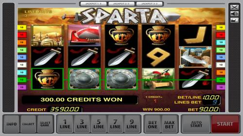 Sparta Review Slots Multiple winning paylines