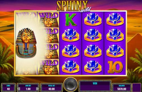Sphinx Wild Review Slots Surrounding Wild Feature activated.