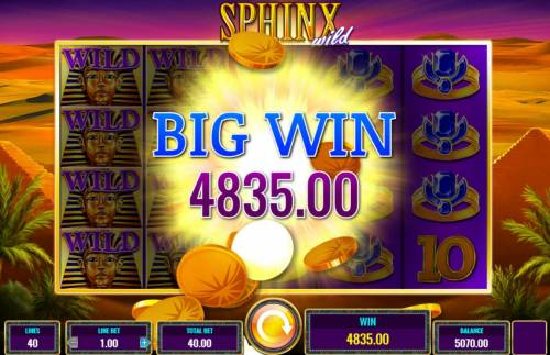 Sphinx Wild Review Slots A 4835.00 Big Win awarded player.