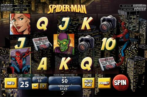 Spider-Man Review Slots Main game board featuring five reels and 25 paylines with a progressive jackpot for a max payout