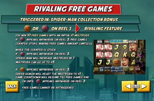 Spider-Man Review Slots Rivaling Free Games - Triggered in Spider-Man Collection Bonus. A pumpkin or spider on reel 3 triggers rivaling free games bonus
