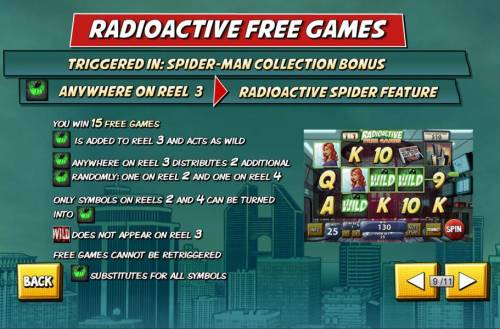 Spider-Man Review Slots Radioactive Free Games - Triggered in: Spider-Man Collection Bonus. you win 15 free games.