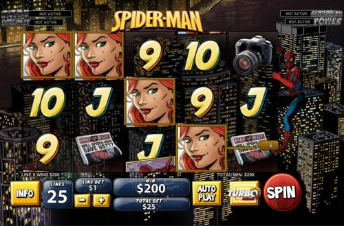 Spider-Man Review Slots A four of a kind leads to a $200 line pay