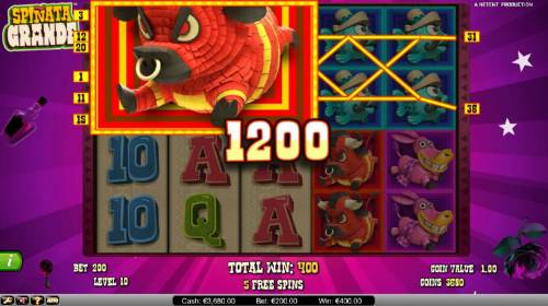 Spinata Grande Review Slots Colossal symbol triggers multiple winning paylines during free spins feature
